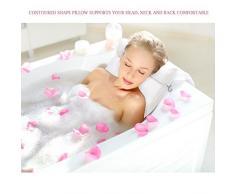 Coussin de Bain, Oreiller Baignoire pour Bain Relaxant ou Spa Familiale, Oreiller Anti-Moisissure Sèche Rapide et Comfortable - Blanc