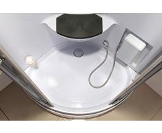 Biancospino Cabine de douche hydromassante de coin avec lumière intérieure modèle de luxe avec radio 90 x 90 cm