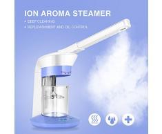 Facial Sauna Facial Steamer, vapeur de cheveux, Humidificateur ionique portatif de machine à vapeur pour le visage, Machine à vapeur pour ozone jet rotatif à 360 ° pour le nettoyage en profondeur (EU)