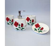 Set salle de bain 4 pièces en céramique Motif Roses en fleurs