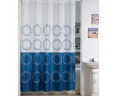MSV 140825 Rideau de Douche Polyester + Plastique Polypropylène Blanc/Bleu 180 x 200 x 0,1 cm - 12 anneaux inclus