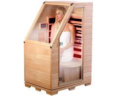 Newgen Medicals Sauna infrarouge compact pour la maison : sauna infrarouge en bois de hemlock, 760 W, 0,62 m² (sauna infrarouge)