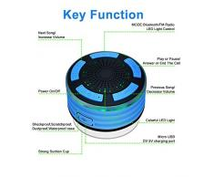 Alitoo Enceinte Bluetooth Étanche Haut-Parleur sans Fil Portable Radios de Douche avec Radio FM,Lumières LED,Son HD et Basse pour Téléphone Intelligent Salle de Bain Piscine Plage Cuisine Extérieure