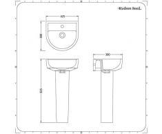 Hudson Reed - Lavabo sur Colonne - Céramique Blanche - 42 CM