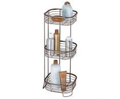 mDesign étagère d'angle sur pied pour salle de bain et douche - meuble de rangement télescopique pratique à 3 paniers pour shampooings, gels de douche etc. - meuble de rangement - bronze