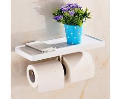 Hiendure® Etagère Murale acier inoxydable doubles toilettes Distributeur de papier toilette Salle de bain Etagère, Peinture Blanc