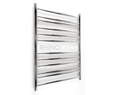 rhinorails 810 mm x 600 mm Ergo (à plat) 600 sèche-serviettes en acier inoxydable | pour radiateur de salle de bain finition en acier inoxydable poli | sortie eau Circulant Porte-serviette chauffant avec chaleur BTU 890 watts 258