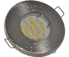Salle de bain Spot IP65 | couleur acier inoxydable brossé | 230 V GU10 5 W LED blanc chaud 2700 K 450 lumens | Douille de lampe avec câble de raccordement inclus