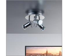 LED lampe Applique de plafond salle de bain/salle de bain/Spot Plafonnier/applique lampe projecteur/plafond/plafond salle de bain/plafond pour salle de bain/IP44/aux projections d'eau/Chromé/blanc chaud