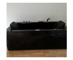 Baignoire balnéo noire rectangulaire Whirpool 24 jets Teva Black Edition Pack Luxe