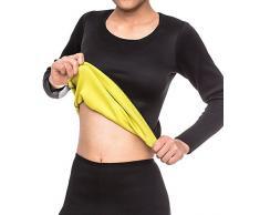 SEXYWG Femmes Noir Perte de poids T-shirt Sauna en néoprène à manches longues