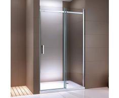 Paroi de douche fixe et porte coulissante DX806A FLEX en verre véritable traitement Nano - largeur sélectionnable, Largeur élément porte:130cm