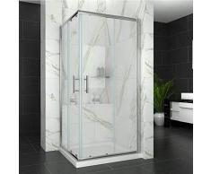 SIRHONA Cabine de douche entrée dangle de douche coulissante 90x90 cm cabine douche à double porte coulissante cabine douche hauteur 185, verre 6 mm