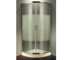 Progetto bagno Cabine de douche en cristal trempé sérigraphié 6 mm, semi-circulaire, ouverture coulissante – 80 x 80 cm, hauteur 190 cm