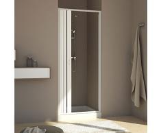 Forte br120001 Box douche FREE Porte réductible, réversible, blanc, 60 - 80, H 185 cm