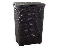 CURVER | Coffre à linge 60L - Aspect rotin, Chocolat, Laundry Hampers & Baskets, 44,8x34,1x61,5 cm