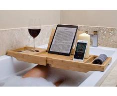 bathbü Pont de Baignoire Bambou Bras Jambes Extensibles, Support Livre/Tablette, Téléphone Portable, Verre de Vin, Plateau pour Accessoires
