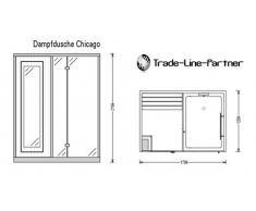 Trade-Line-Partner Douche Vapeur 170 x 120 cm avec Fonction Sauna + équipement Complet