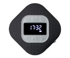 Lenco BAR-013 Radio de Douche Bluetooth V.5 IPX4 Bluetooth Haut-Parleur Mains Libres avec Ventouse PLL FM 3 W RMS 1000 mAh Li-ION Noir