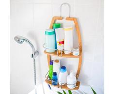 Relaxdays Étagère de salle de bain Rangement en bambou avec 2 niveaux HxlxP : 62 x 27,5 x 13 cm serviteur de douche à suspendre, nature