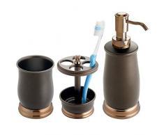 mDesign ensemble salle de bain élégant (lot de 3) – accessoires salle de bain avec distributeur de savon, verre à dent et porte brosse à dent – set de salle de bain en métal – bronze