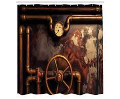 gwegvhvg Rideau de Douche Industriel avec tuyaux de Vapeur et manomètre Style Vintage Effet usé Tissu de décoration de Salle de Bain avec Crochets 180 cm de Long Orange/Bronze