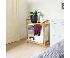 Relaxdays Panier à linge LINEA coffre pliable en bambou Corbeille lessive salle bain 40L 77 x 69,5 x 36 cm compartiments, nature