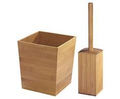 mDesign ensemble accessoires salle de bain en bambou (lot de 2) – 1 poubelle salle de bain & 1 balayette WC – set de WC élégant & pratique pour salle de bain ou WC pour invités – couleur bambou