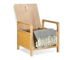 Relaxdays Banc de rangement banquette bambou tabouret de salle de bain HxlxP: 46 x 50,5 x 50 cm coussin repose-pieds, nature
