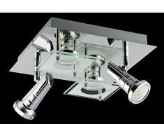 Trango TG3089 Plafonnier 4 ampoules LED design, carré, pour salle de bains, avec 4 ampoules LED GU10, 230 V