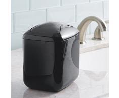 Corbeille à papiers mDesign pour poser sur le meuble-lavabo de la salle de bains - Noir