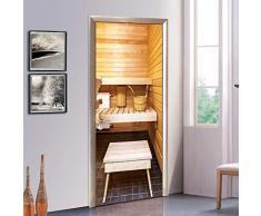 XIAOXINYUAN 3D Porte Autocollant Creative Sauna Porte Papier Peint Bricolage Amovible Murales Adhésives pour Chambre Bureau Porte Autocollants Décor À La Maison