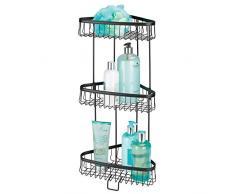 mDesign étagère d'angle pour douche autoportant – meuble de rangement pratique à 3 niveaux – support pour douche idéal pour shampooings, gels de douche, serviettes & Cie. – noir mat