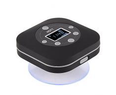 Oumij Haut-Parleur de Douche Bluetooth Mini Haut-Parleur sans Fil Bluetooth Mains Libres Radio FM Imperméable pour Salle de Bain, Sports, Extérieur, À lintérieur, Piscine