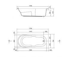 MyBATH bW101200 de baignoire rectangulaire en acrylique rechteckbadewanne comersee de luxe en acrylique-design baignoire 4 mm 170 x 75 cm-blanc