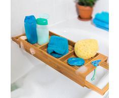 Relaxdays Pont de baignoire Tablette de bain Porte-savon Support en bois de bambou Spa H x l x P: 7 x 67,5 x 21 cm salle deau détente support livre verre, nature