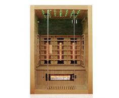 Dewello MILTON Cabine de sauna infrarouge 135 x 105 cm avec projecteur à spectre complet, spot et accessoires