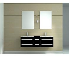Meuble de salle de bain double vasques 6 tiroirs coloris Noir Brillant-Miroir-Vasuqe-Meuble sous vasque