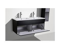 ALBAN Salle de bain complete double vasque 120 cm - Laqué noir