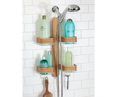 mDesign étagère de douche à suspendre – support présentoir pratique – meuble de rangement pour produits de douche – montage sans perçage – acier avec finition en teck, satiné