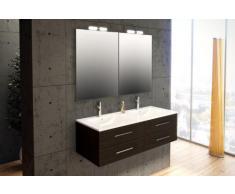 Mennza - Ensemble de salle de bain SÉVILLE meuble suspendu wengé 120 cm
