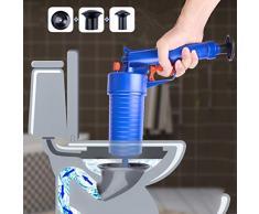 Lumière Haute Pression Puissant Sabot Cannon Air Drain Blaster évier de Baignoire Drain Plombier Portable Brosse de Toilette Salle de Bain Plongeur (Couleur: Bleu)