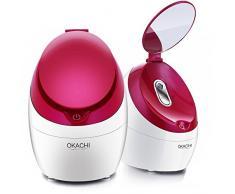 OKACHI GLIYA Nano Ionic Visage Steamer Professional Hot Mist Sauna Spa pour ouvrir les pores Traitement Blackhead & Acne & Sinus Inhalateur Portable Hydratation en profondeur - Rouge
