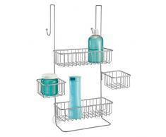 mDesign étagère de douche à suspendre à la porte de la douche – serviteur de douche pratique sans perçage – valet de douche pour tout accessoire de douche – en métal – argenté