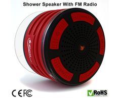 iFox iF013 - Enceinte Bluetooth pour la douche - certifiée étanche/fonction radio FM - compatible avec tous les appareils Bluetooth tels que iPhone/iPad/iPod/PC - Rouge et noir