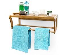 Relaxdays Étagère murale de salle de bain Porte-serviettes en bambou HxlxP : 20 x 60 x 26 cm avec barre pour serviettes ou vêtements et surface de rangement en bois toilettes, nature