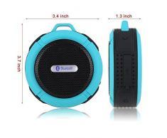 PYRUS Douche Haut-Parleur GUJ85, le Choc Imperméable / Sous-Marine IP67 Bluetooth Stéréo Sans Fil Haut-parleur Microphone Intégré pour la Fonction Mains-libres avec Radio FM, Lecteur MP3, et Multiple Couleur LED de Fonctions d'Eclairage (BLEU)
