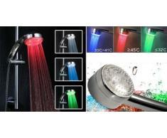 Douche LED Lumineux à LED 3 Couleurs LED Shower Pommeau et Douchette