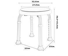 Tabouret de douche / baignoire rotatif arrondi avec siège pivotant Tabouret de siège de douche pour tapis antidérapants pour personnes âgées / handicapées Chaise de douche réglable en hauteur 7 max. 1