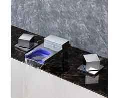 Ensemble de Douche Robinet Chrome moderne Led Couleur lumineuse intelligente chaude et froide lavabo robinet cascade à trois trous de cuivre Salle de bains bassin robinet de la baignoire Belle pratiqu